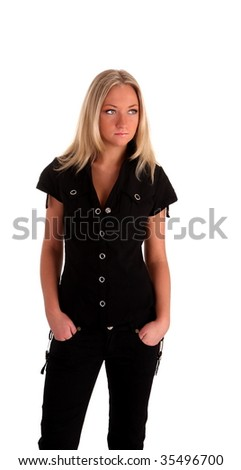 white nice young woman in black on a wihite background