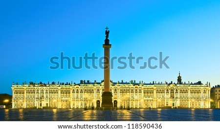White nights in St.-Petersburg, Russia. Winter Palace of Russian tsars (Hermitage Museum) and Alexander Column on the Palace Square - stock photo