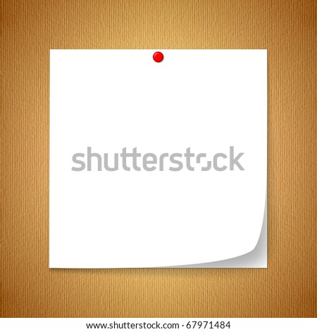 White note paper. Embroidered with a red marker. Placed on the ground, the old brown paper. - stock photo