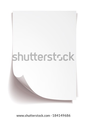 White note paper on white background - stock photo