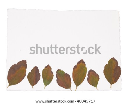 white note paper with autumn leaves - stock photo