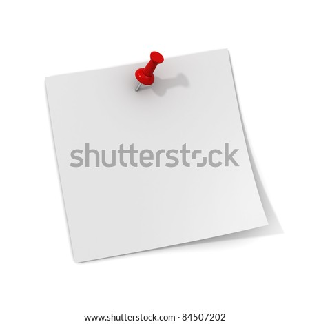 White note paper with red push pin isolated on white background with shadow - stock photo
