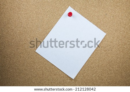white note papers on cork board  background. - stock photo