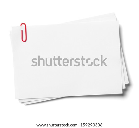 White note papers with red clip, isolated on the white background, clipping path included. - stock photo