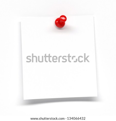 White note pinned with red pin - stock photo