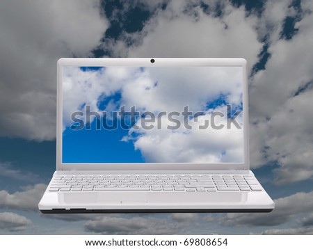 White notebook on background of sky - stock photo