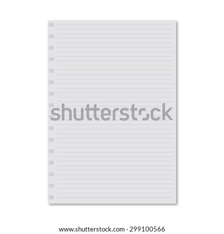 white notebook paper sheet - stock photo