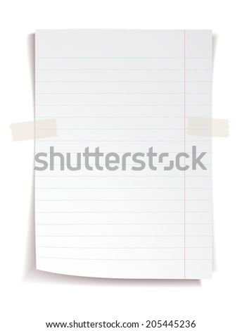 White notebook paper with lines on white background - stock photo