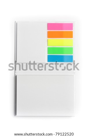 White notepad with colorful sticky reminder notes - stock photo