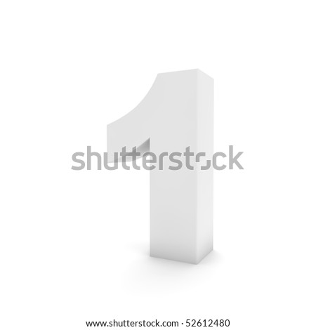 white number 1 isolated on white - stock photo
