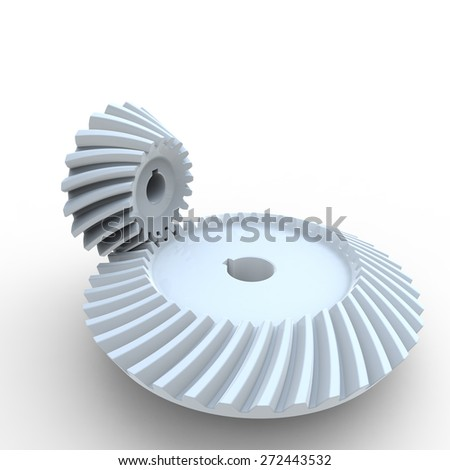 White nylon plastic crown and pinion spiral bevel gears on a white background - stock photo