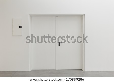 White office door with office, construction and architecture - stock photo