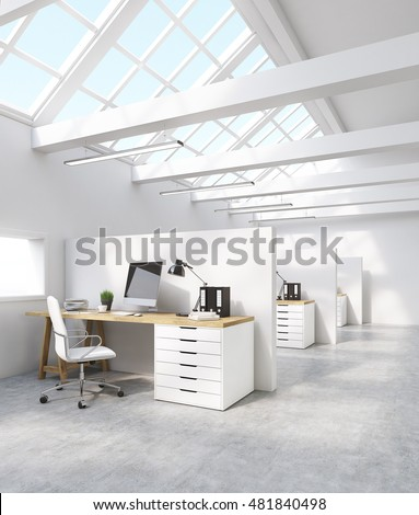 White office interior in attic with computer screen desk and binders. Concept of international  sc 1 st  Shutterstock & White Office Interior Attic Computer Screen Stock Illustration ...