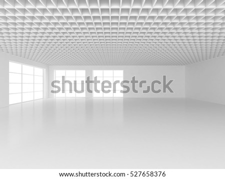 White office interior with big blank wall and window. 3d rendering
