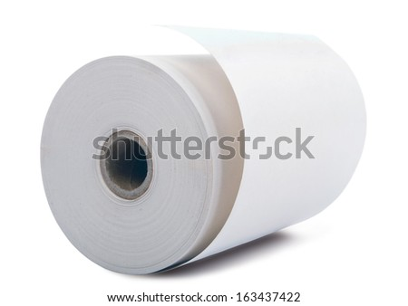 white office paper roll isolated on white background