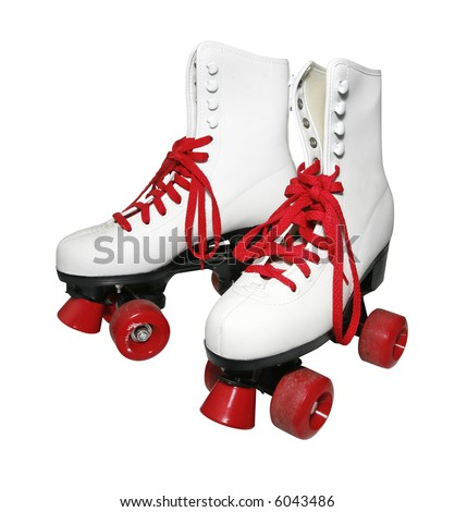 White old fashioned rollerskates dating back to the early seventies late sixties - stock photo