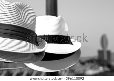 white  old panama hat in the background - stock photo