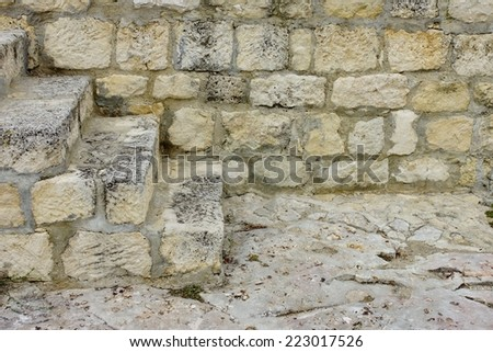 White Old Stone Stairs, Wall and Floor. Background and Texture for text or image - stock photo