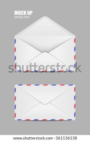 White Open Close Empty Envelopes Template Stock Illustration ...
