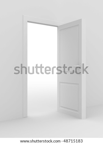 white open door. 3D image. home interior - stock photo