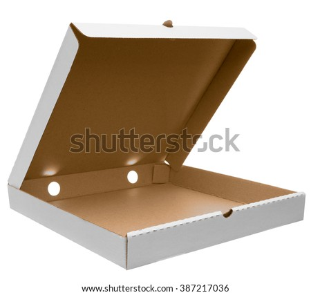 White open pizza box isolated on white with clipping path. Mockup ready for your design. - stock photo