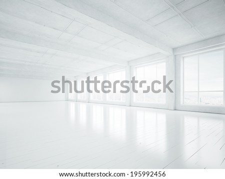 White open space office interior - stock photo