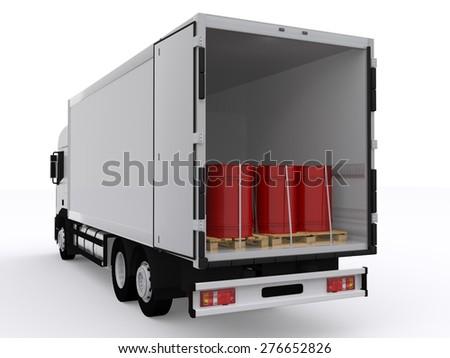 white open truck - stock photo
