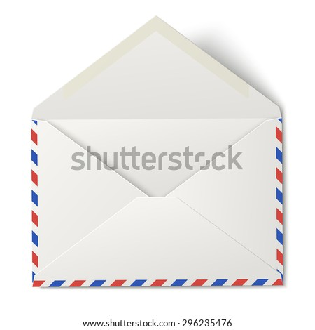 White opened air mail envelope isolated on white - stock photo