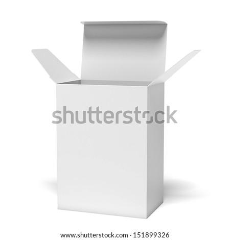 White opened box - stock photo