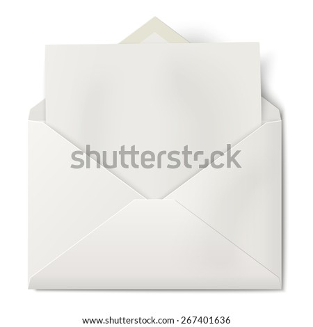 White opened envelope with sheet of paper inside - stock photo