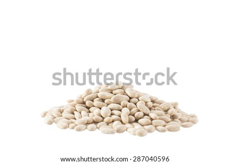 White organic haricot legumes beans isolated on a white background - stock photo