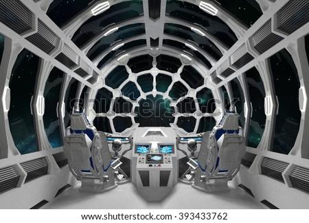 Spaceship Interior With Round Glass Windows. 3D Illustration.