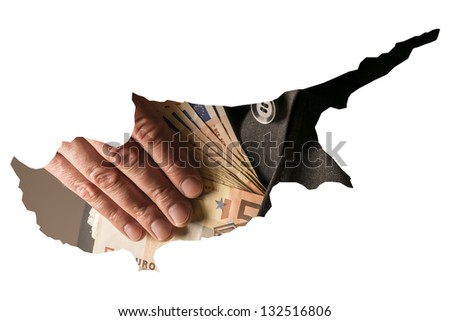 White outline of the country of Cyprus with a single source in a suit that goes bills into pocket. - stock photo