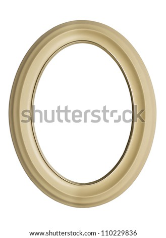 White oval frame isolated on white background