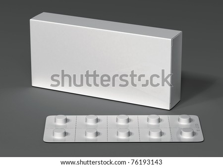 white packaging and blister on a gray background - stock photo