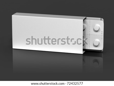 white packing and blister on a gray background - stock photo