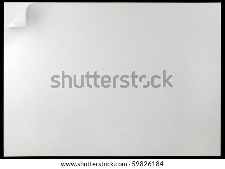 White Page Curl Background, isolated on black - stock photo