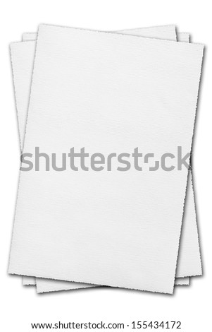 White pages of paper isolated on white background - stock photo