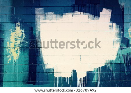 White paint stroke copyspace on a cement block wall. Urban Grunge - stock photo