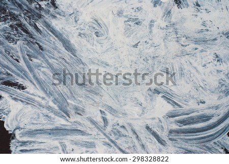 White paint strokes on grunge wall - abstract design