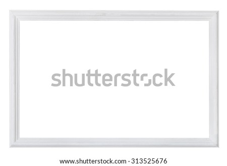 white painted narrow wooden picture frame with cut out blank space isolated on white background - stock photo