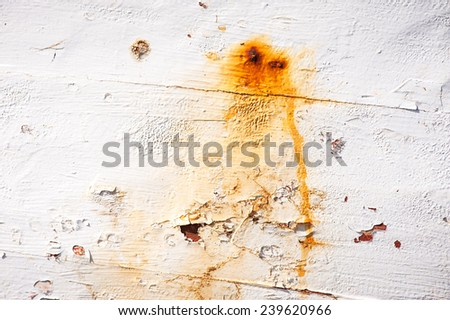 White painted old surface spotted by rust of a nail background texture - stock photo
