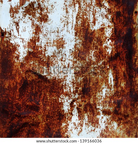 white painted rusty scratched grunge metal background, texture - stock photo