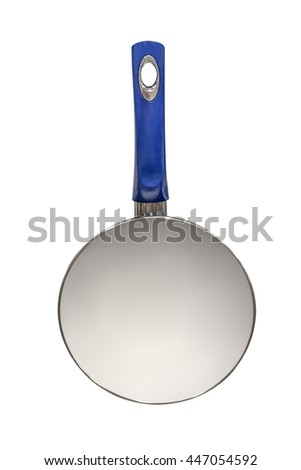 white pan with blue handle isolated on white background - stock photo