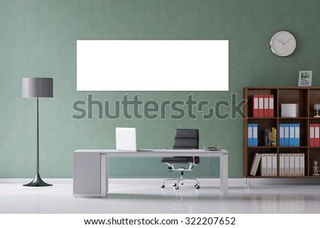 canvas on wall in office over the desk (3D Rendering) - stock photo