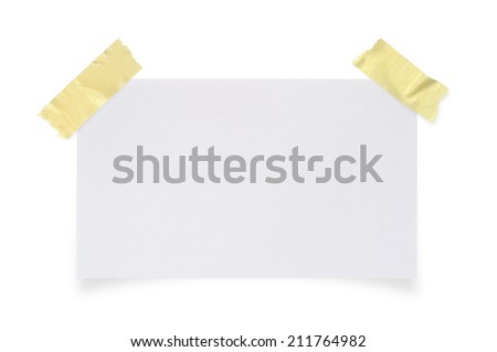White paper and stick masking tape on a white background with clipping paths. - stock photo