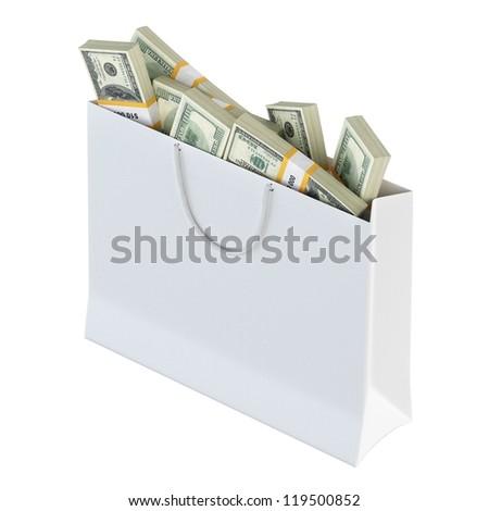 White paper bag full of money (isolated on white background version 1) - stock photo