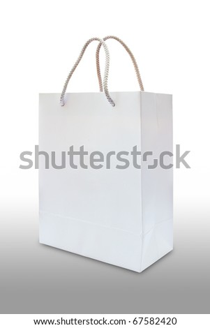 white paper bag isolated on white background - stock photo