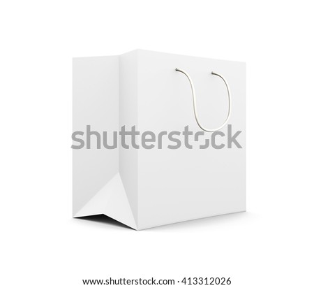 White paper bag with handles isolated on white background. Paper white bag for your design. 3d rendering.  - stock photo