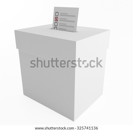White paper box to vote on an isolated background